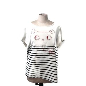 Modcloth Meowing and Musing Embroidered Tee